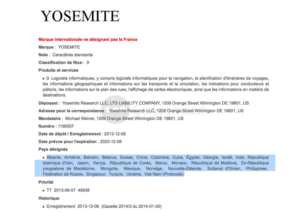 Registro de Trademark para Yosemite