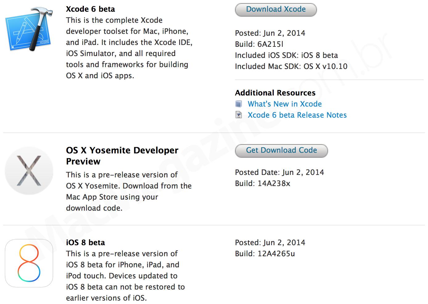 Betas do iOS 8 e do OS X Yosemite