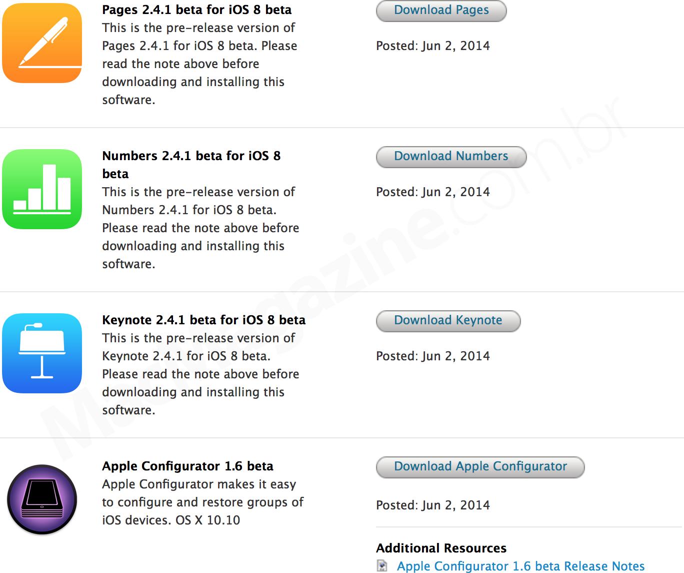 Betas de apps da Apple