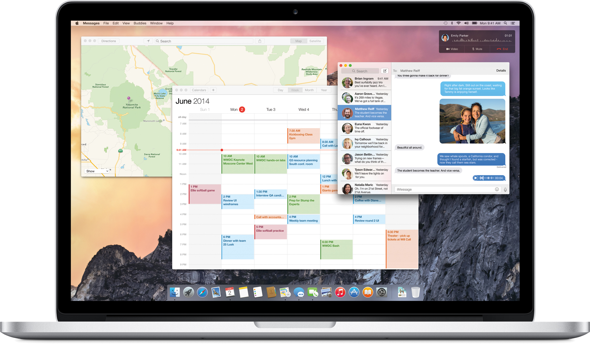 OS X Yosemite com apps abertos rodando no MacBook Pro