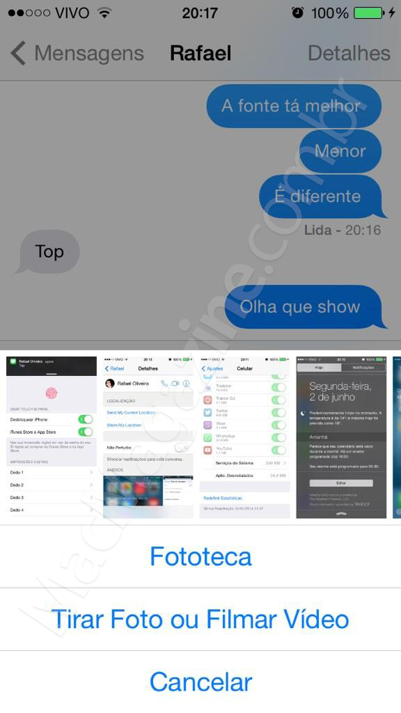 Screenshot do iOS 8