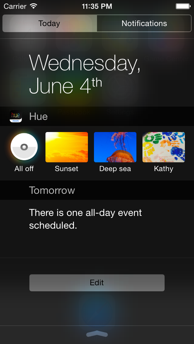 Widget da Philips hue na Central do iOS 8