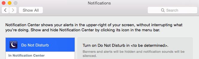 Não Perturbe - OS X Yosemite