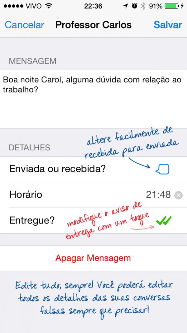 Screenshot do WhatsFake