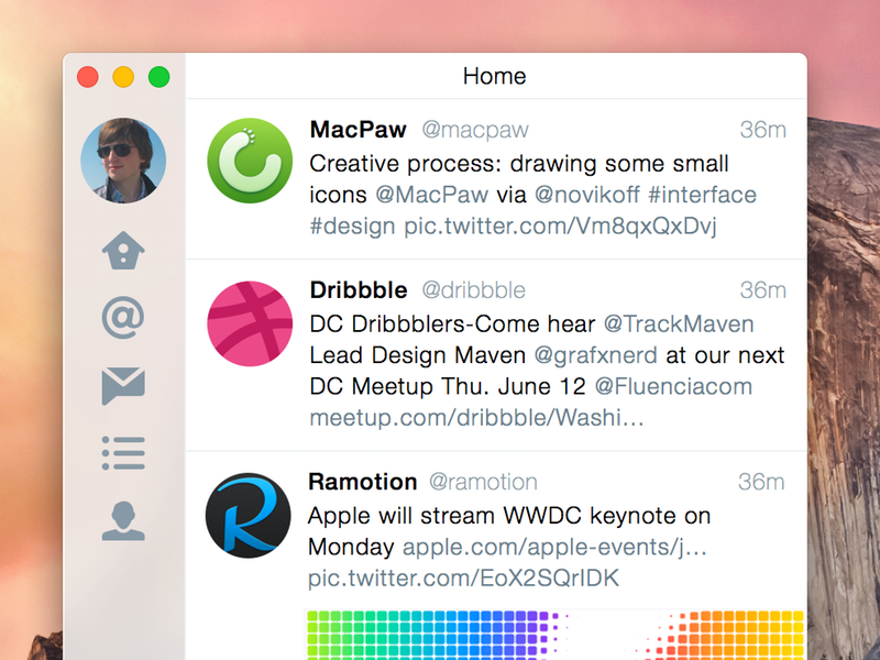 Conceito para o OS X Yosemite - Twitter