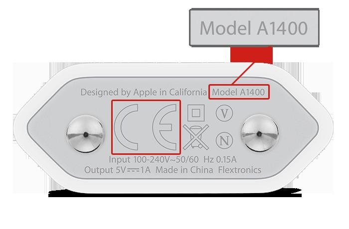 Adaptador de força de iPhone (5W) vendido na Europa
