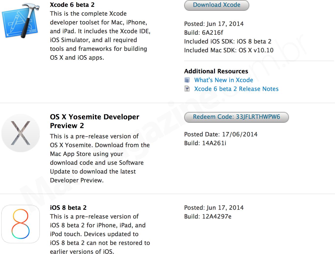 Novas versões betas (iOS 8 e OS X Yosemite)