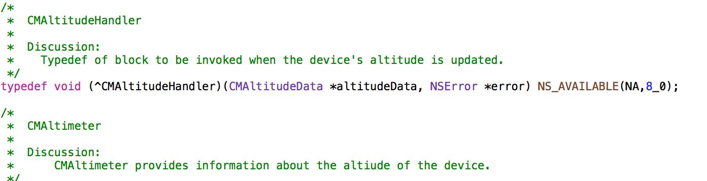 Código no Xcode fazendo referência a altitude