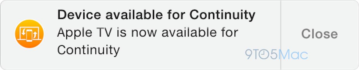 Notificação - Continuidade em Apple TVs