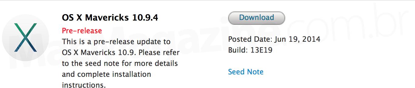 Beta do OS X Mavericks 10.9.4