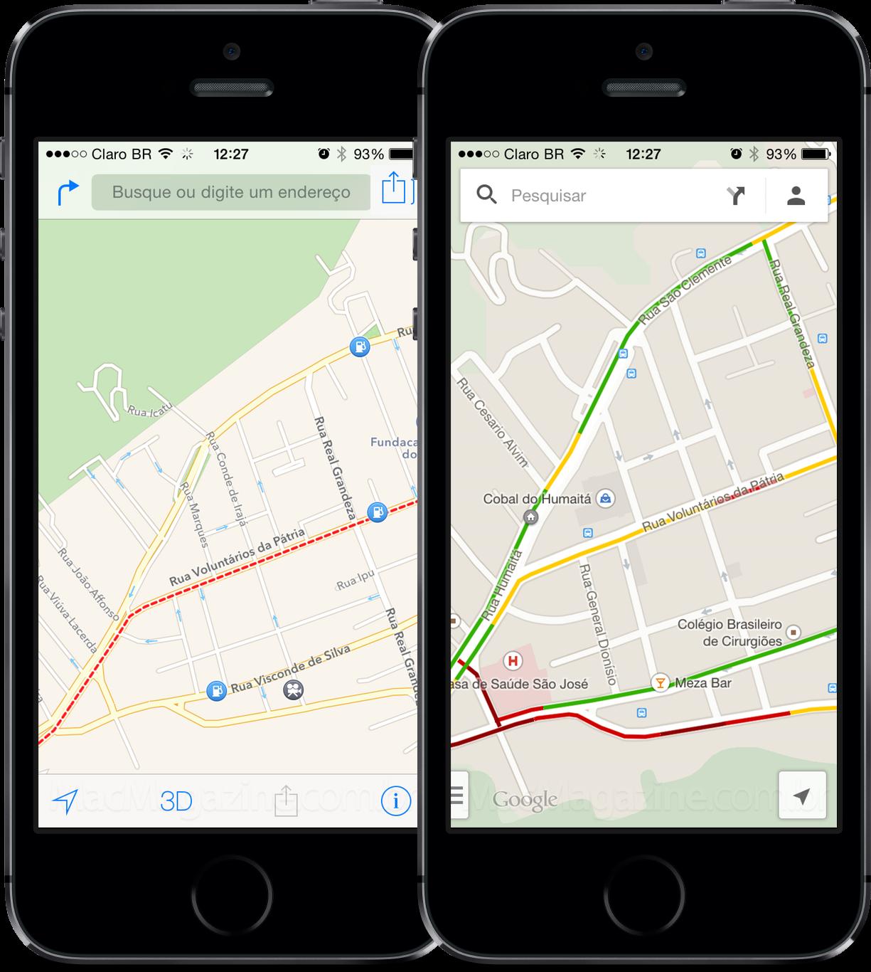 Tráfego - Mapas da Apple e Google Maps