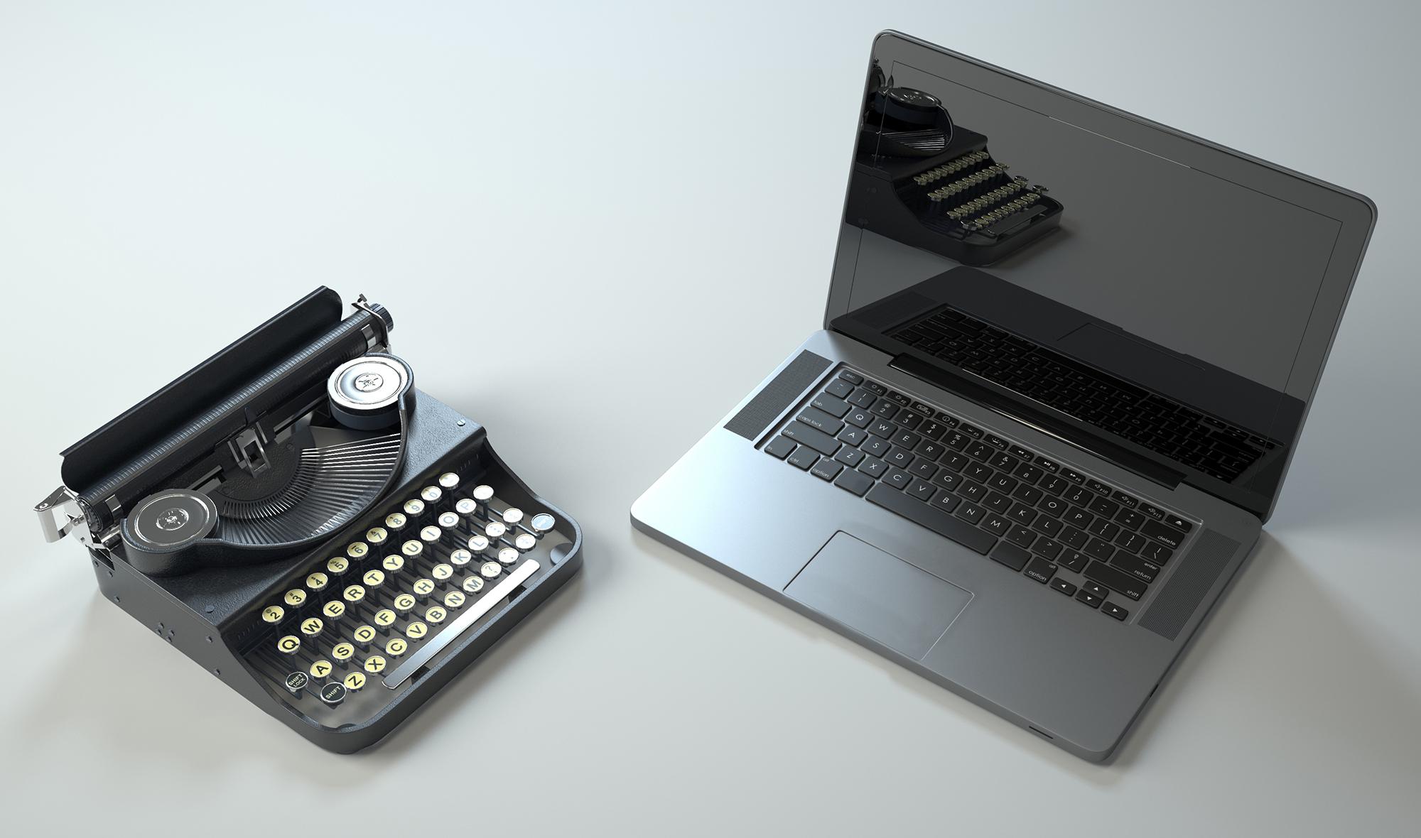 Velho vs. novo - máquina de escrever e laptop
