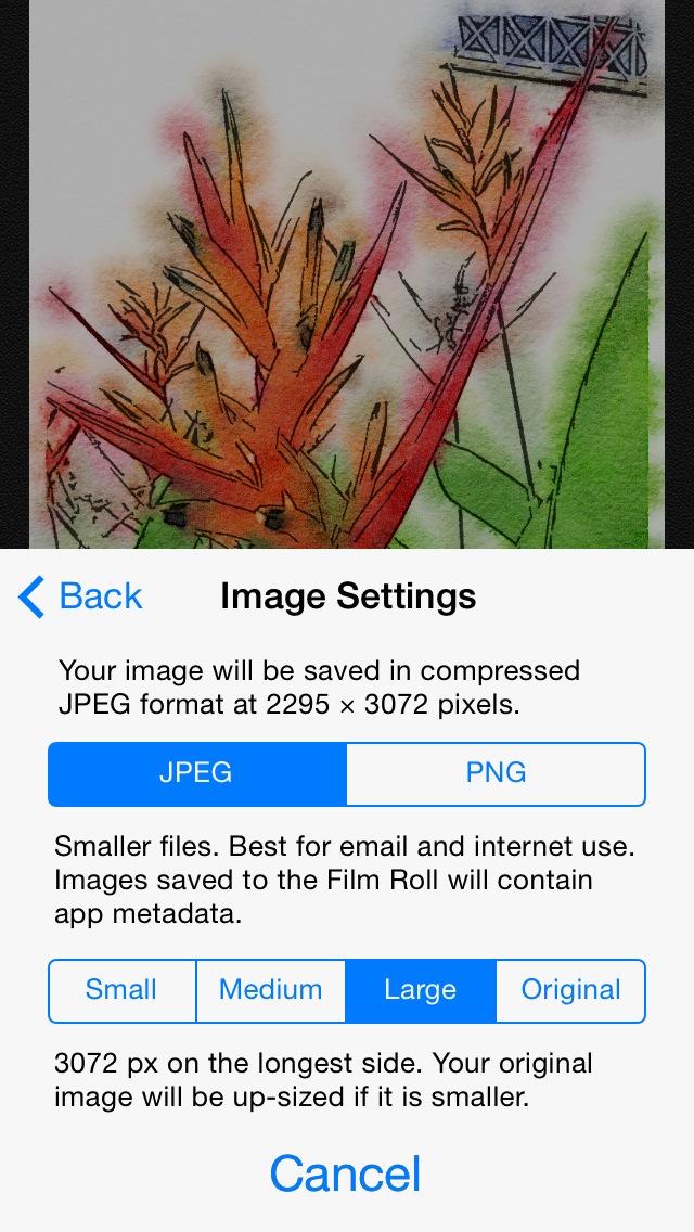 Configurações para exportar imagem