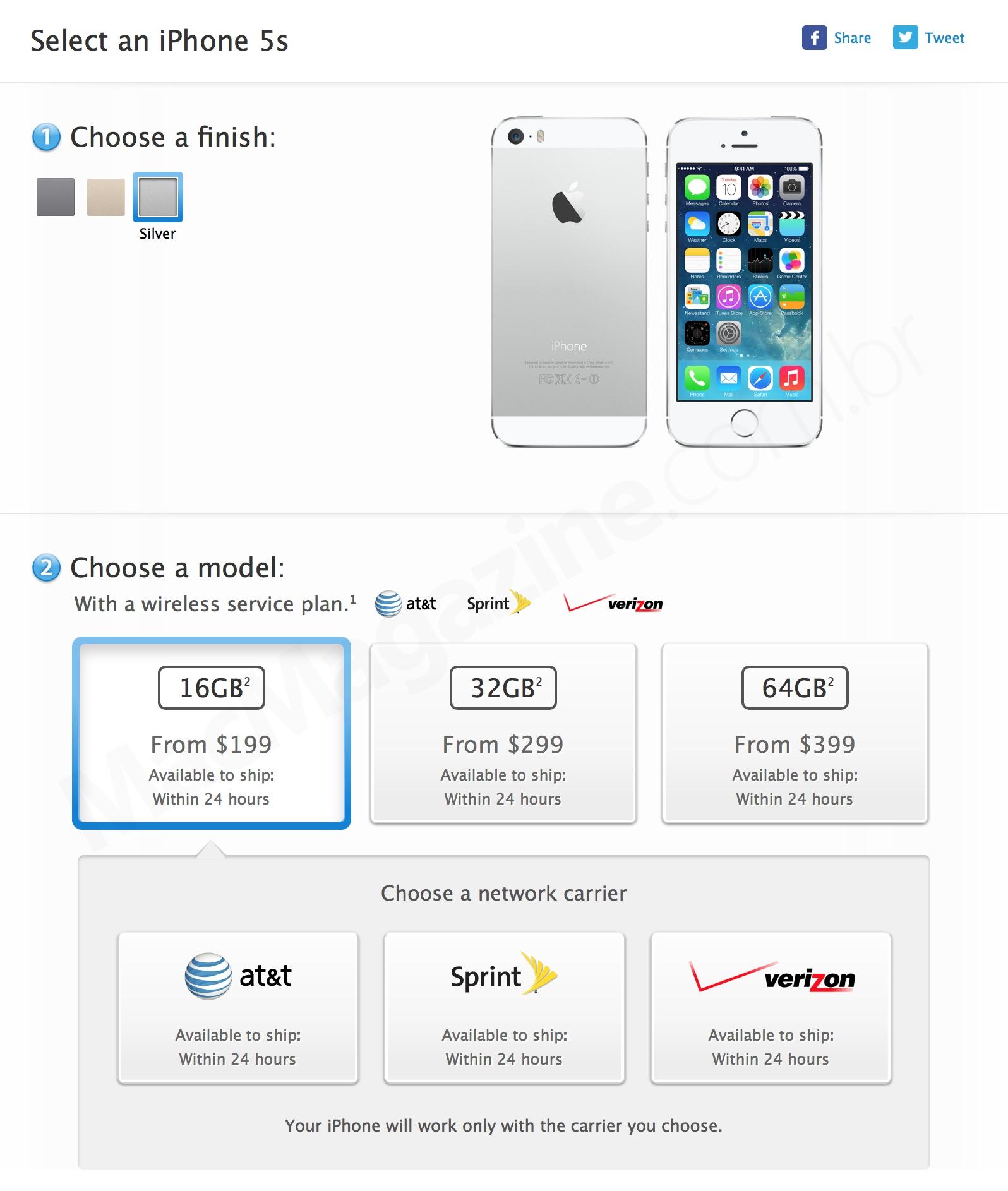 Escolhendo a operadora na compra de um iPhone na Apple Online Store americana