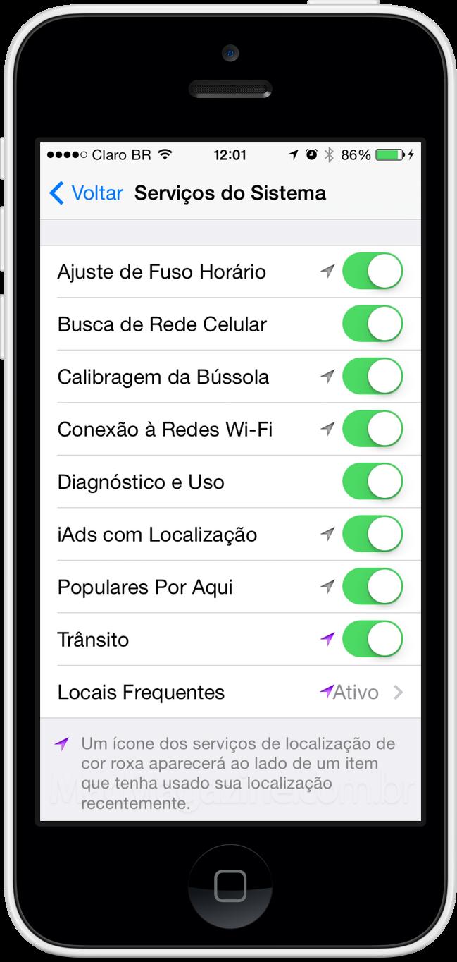 Privacidade no iOS 7