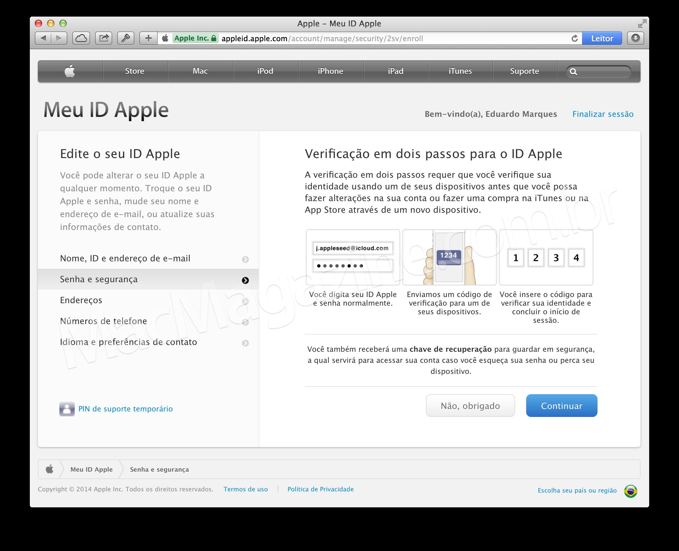 Verificação de duas etapas da Apple