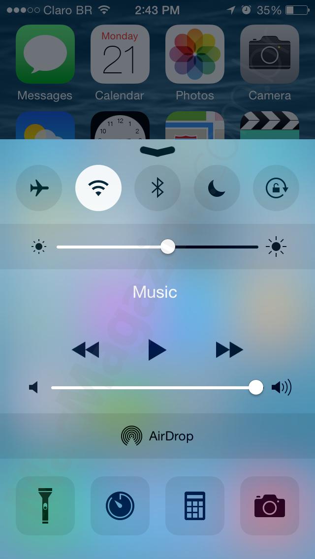 Central de Controle do iOS 8 beta 4