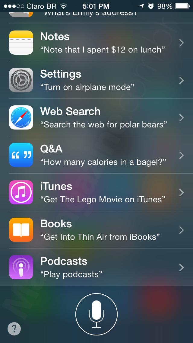 Comandos da Siri no iOS 8 beta 4
