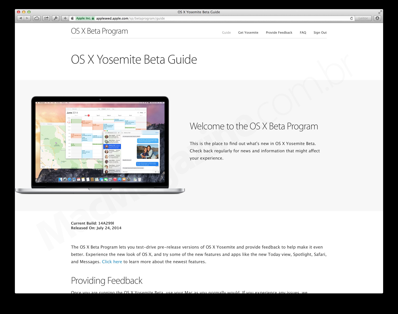 Versão beta pública do OS X Yosemite