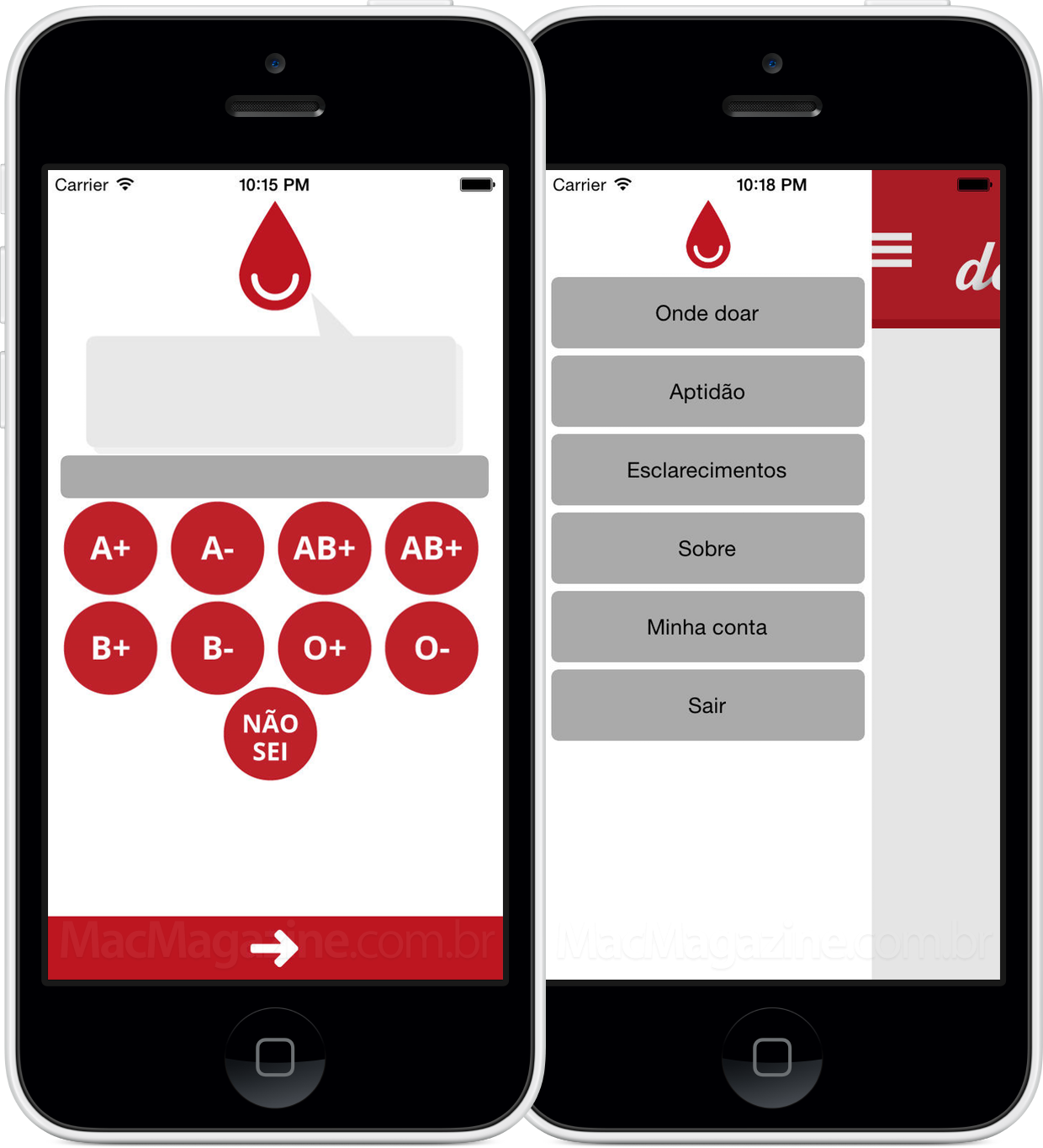 App Doe Sangue Mobile para iPhones/iPods touch