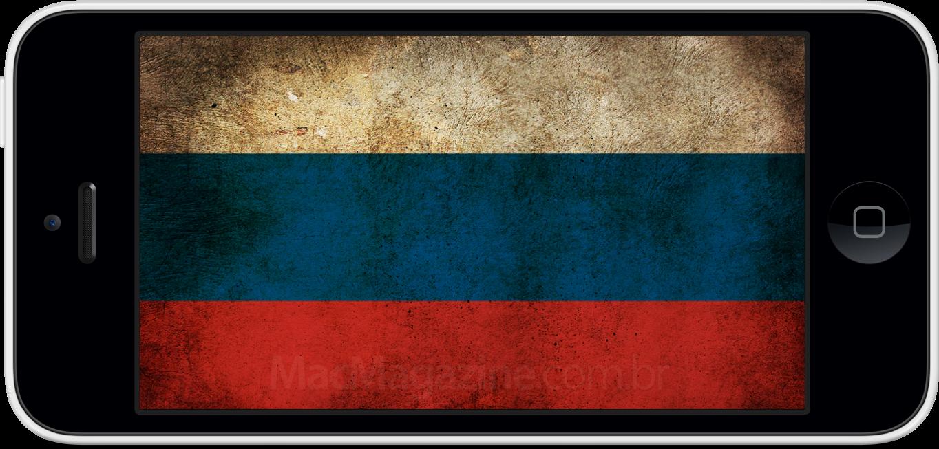 iPhone 5c com a bandeira da Rússia