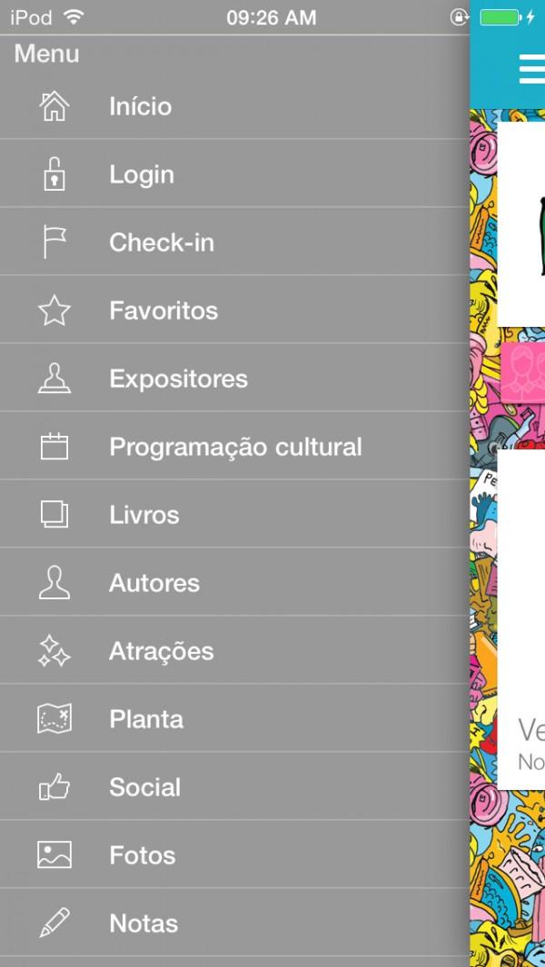 Screenshot do app Bienal do Livro de São Paulo 2014