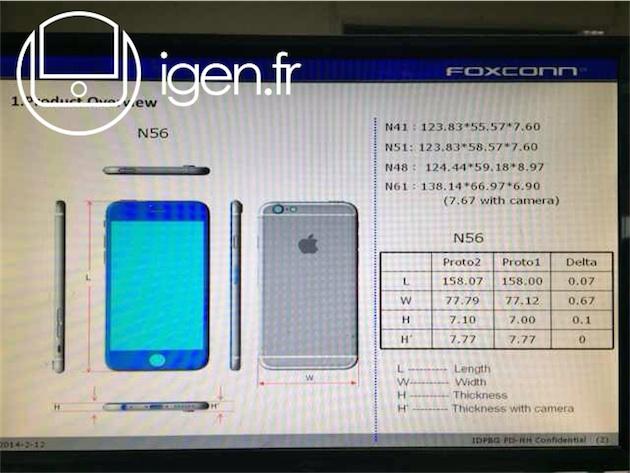 Suposto diagrama do iPhone 6