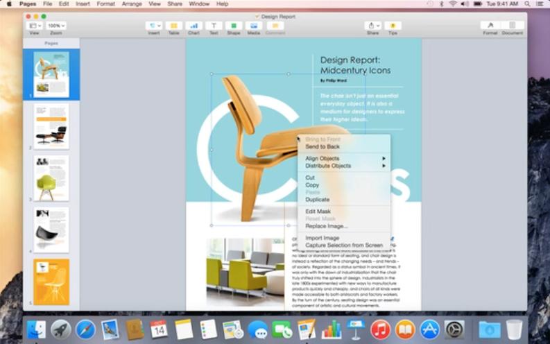 Pages no OS X Yosemite GM