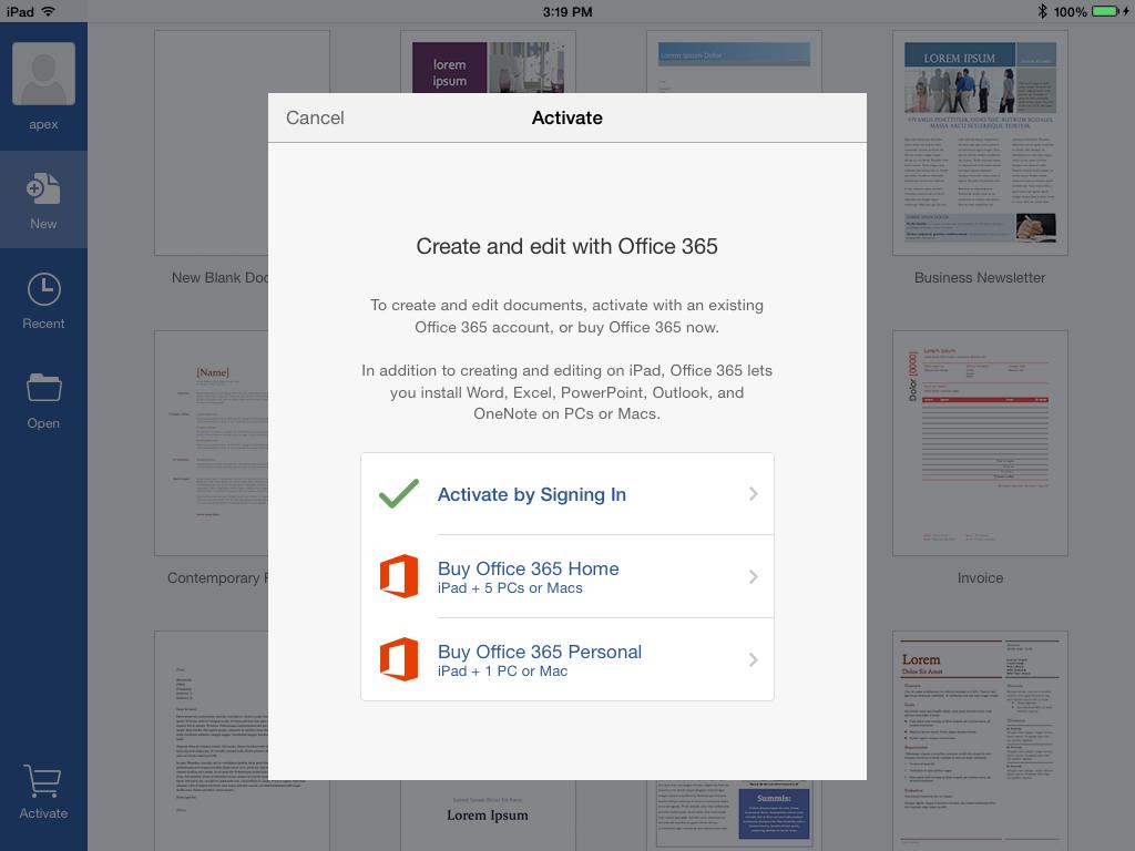 Assinatura do Office para iPad