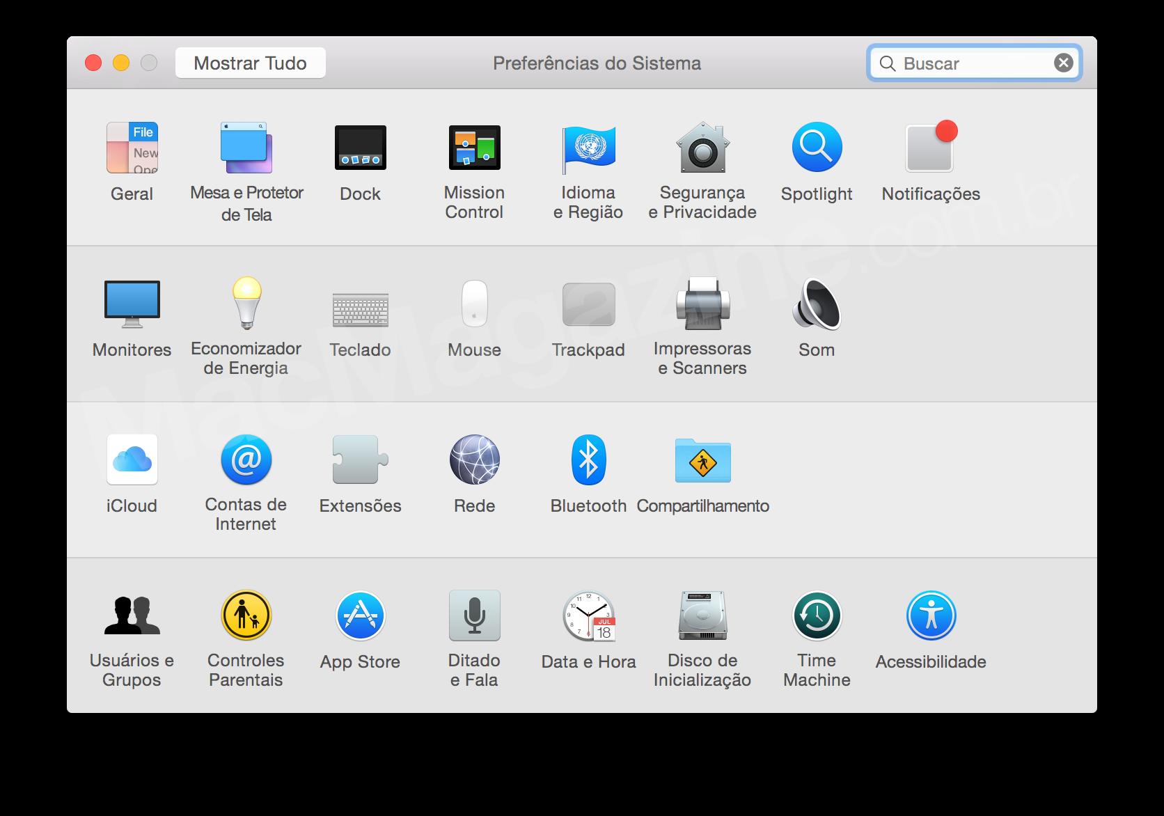 Screenshot do OS X Yosemite