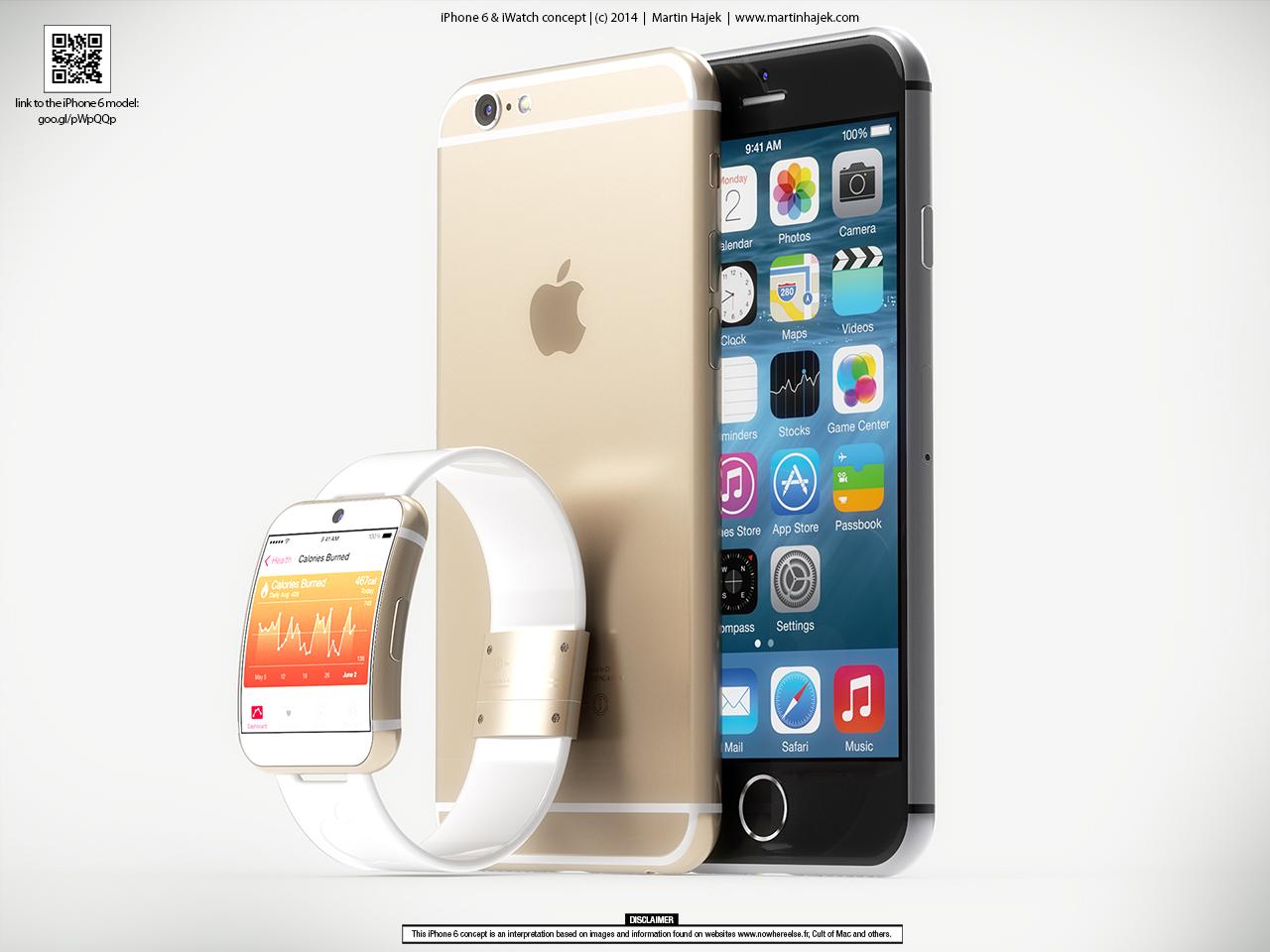 "Conceito - ""iWatch"" e ""iPhone 6"""
