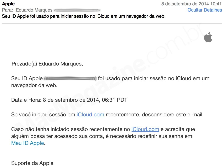 Alerta do iCloud