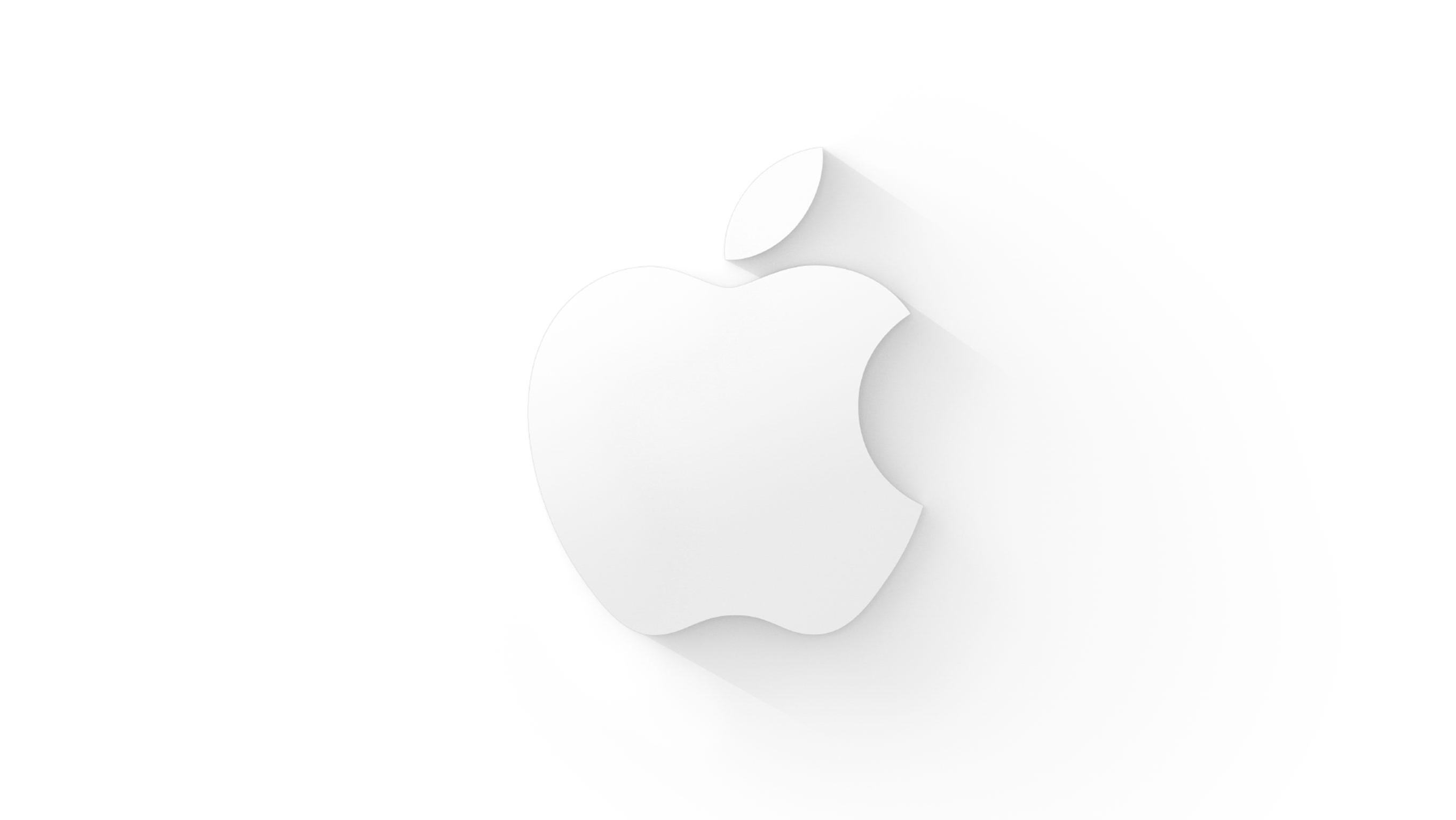 Logo da Apple branco em fundo claro