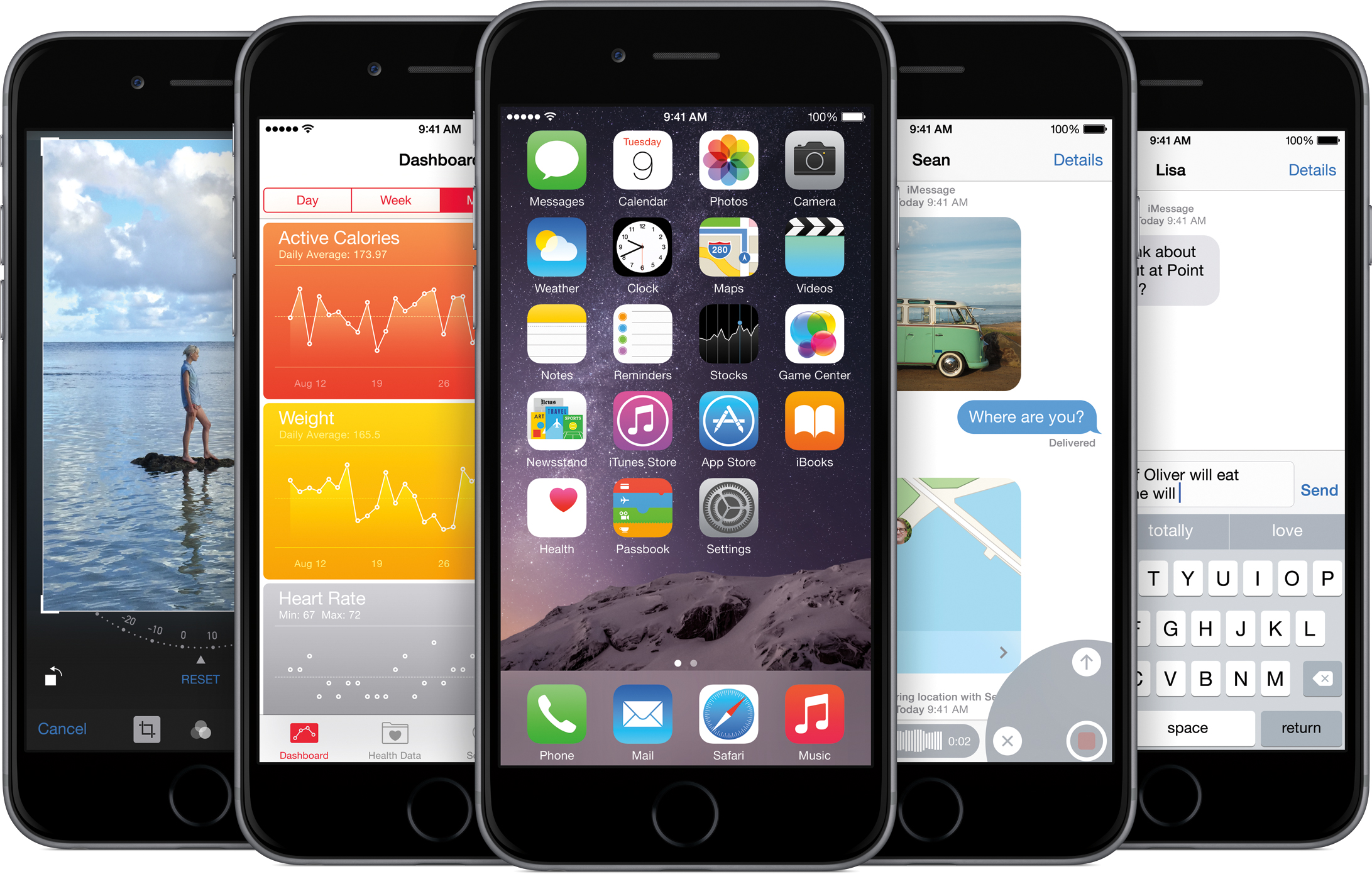 iOS 8 em vários iPhones 6
