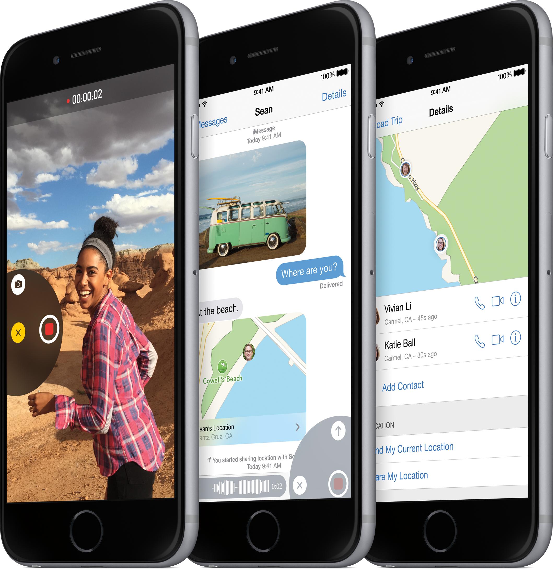 iOS 8 em iPhones 6 de lado
