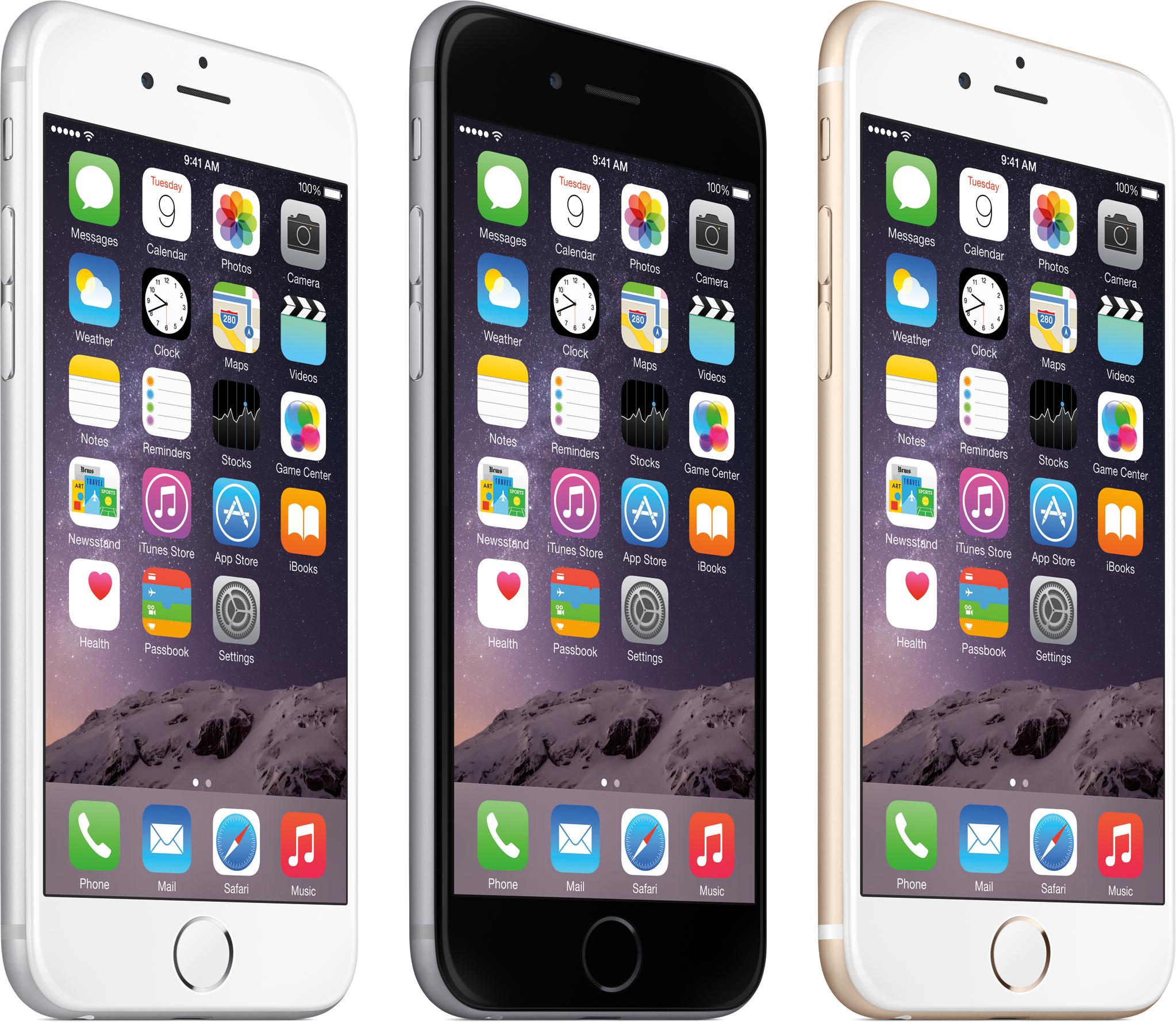 Linha de iPhones 6 com todas as cores