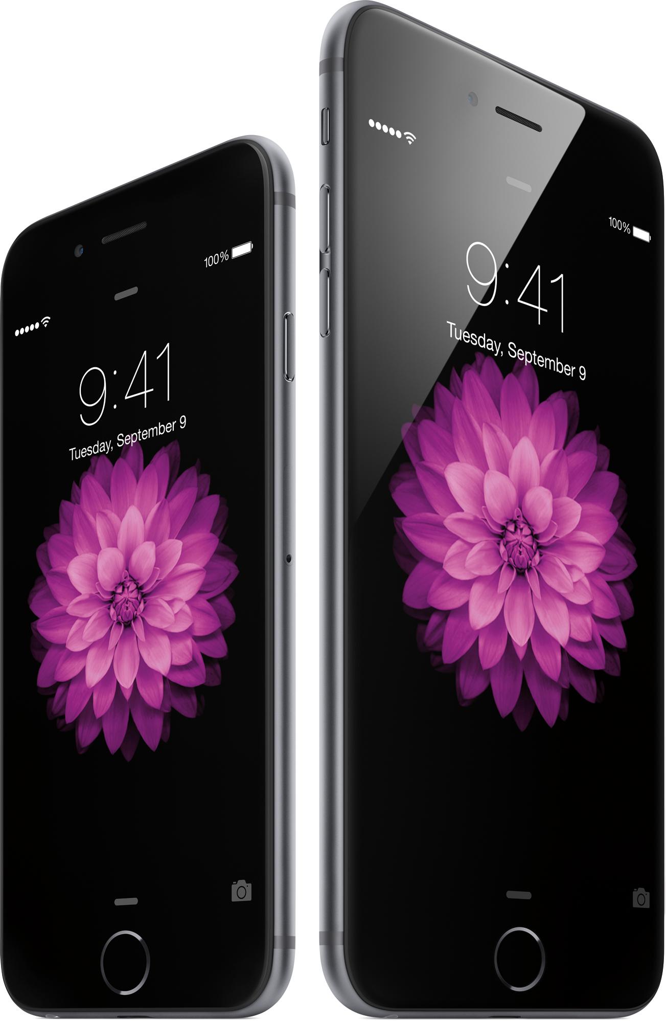 iPhone 6 e iPhone 6 Plus na tela bloqueada, lado a lado