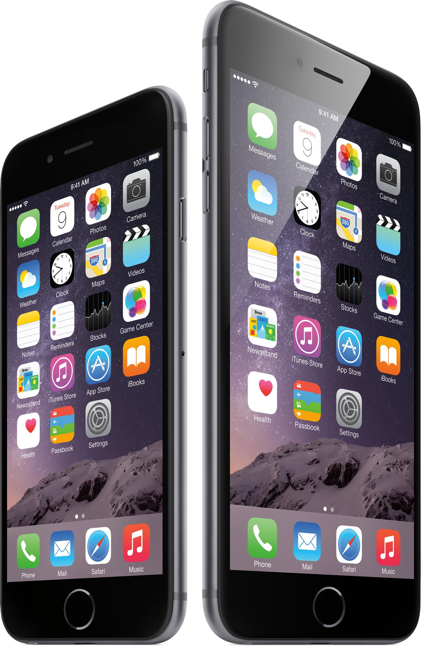 iPhone 6 e iPhone 6 Plus na Tela Início, lado a lado