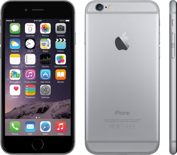 iPhone 6 de frente, de trás e de lado