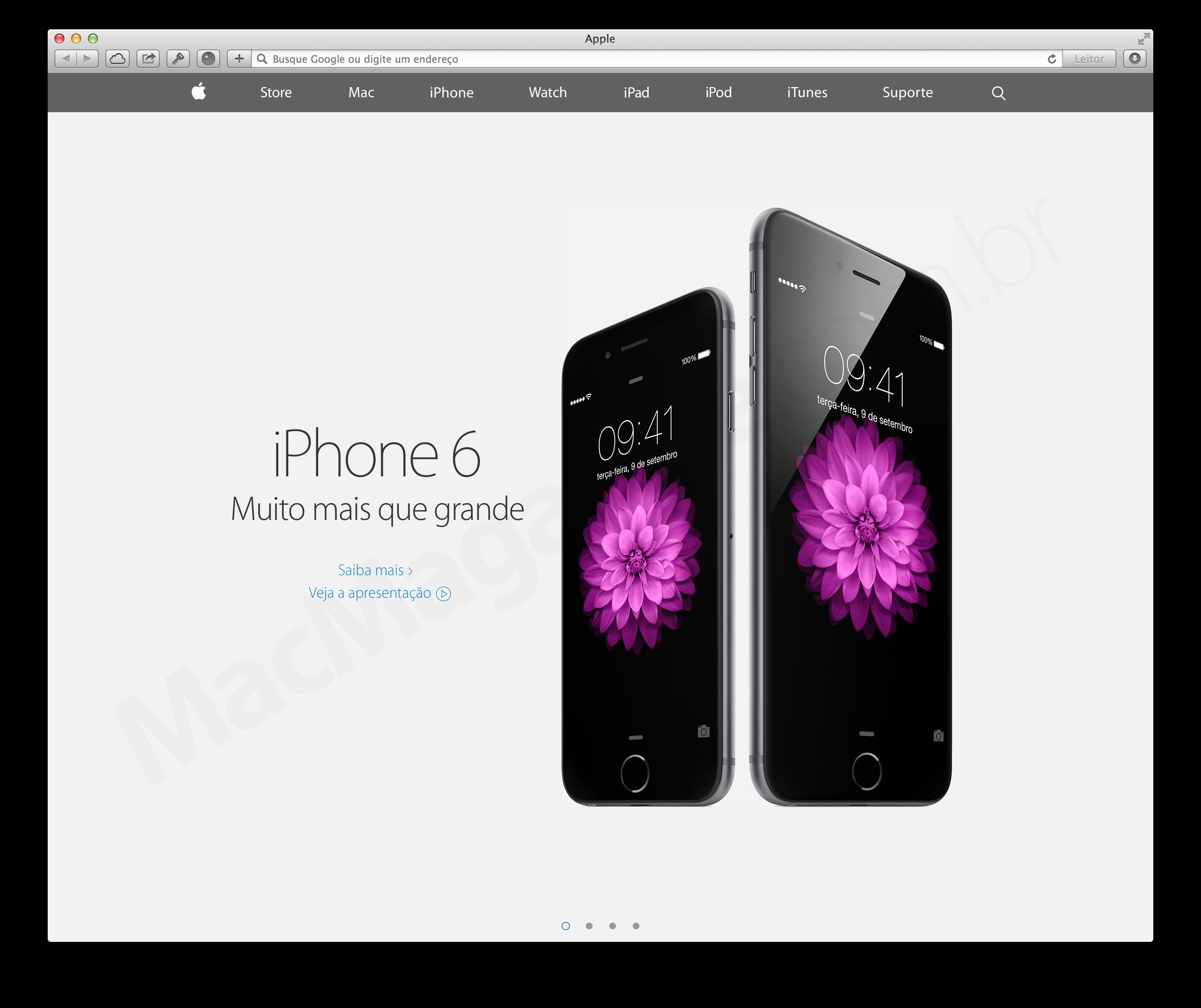 Novo site da Apple