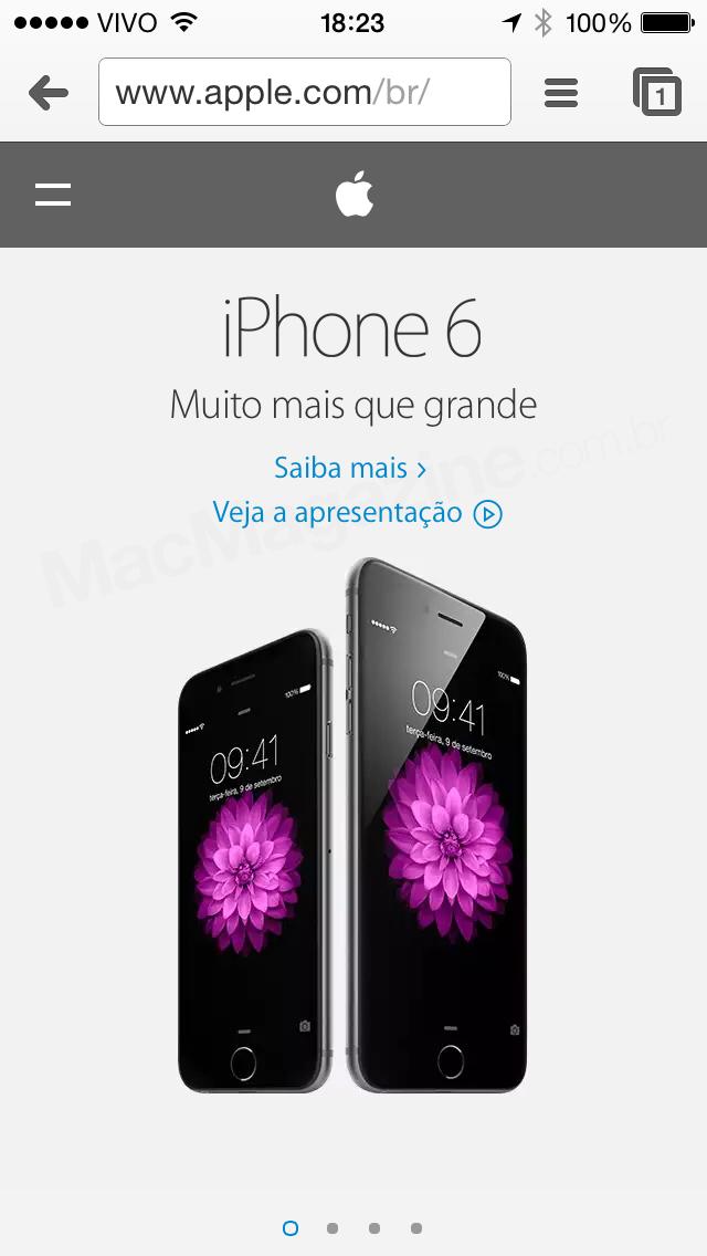 Apple.com responsivo no iPhone
