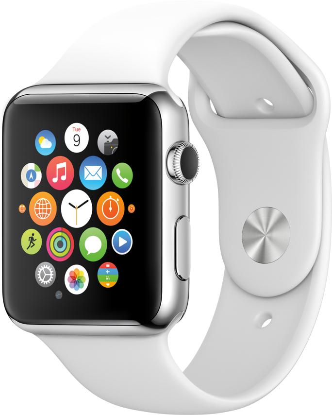 Apple Watch branco, de frente e de lado