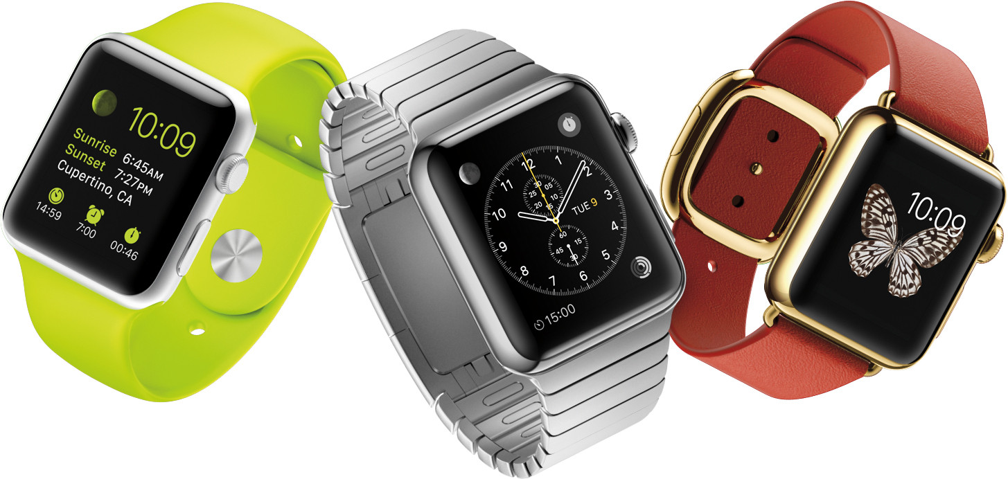 Linha de Apple Watches voando