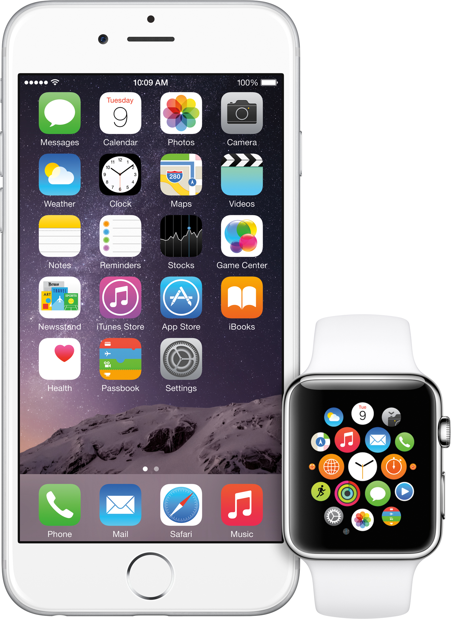 Apple Watch ao lado de um iPhone 6
