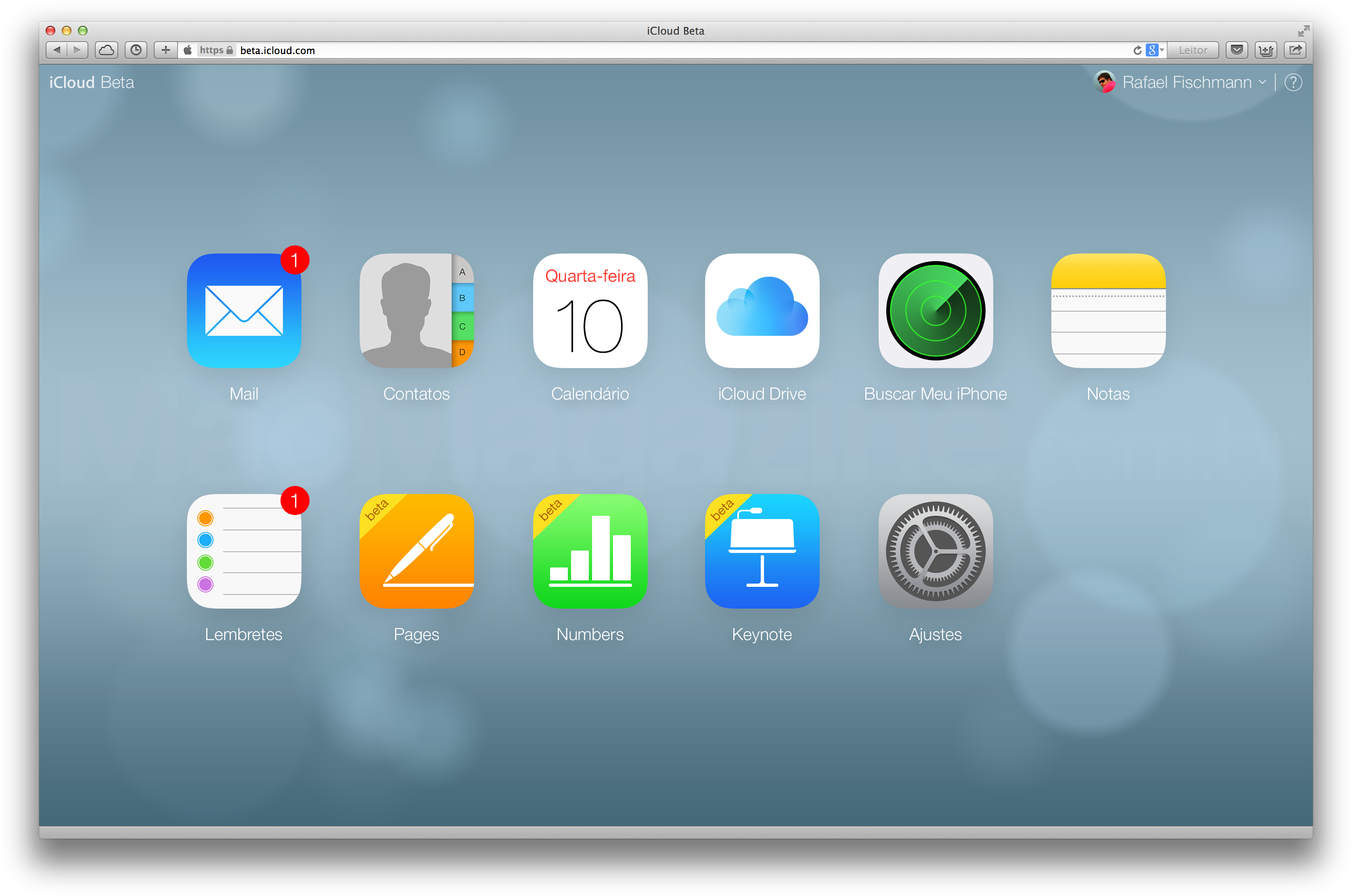 iCloud.com beta com novos ícones