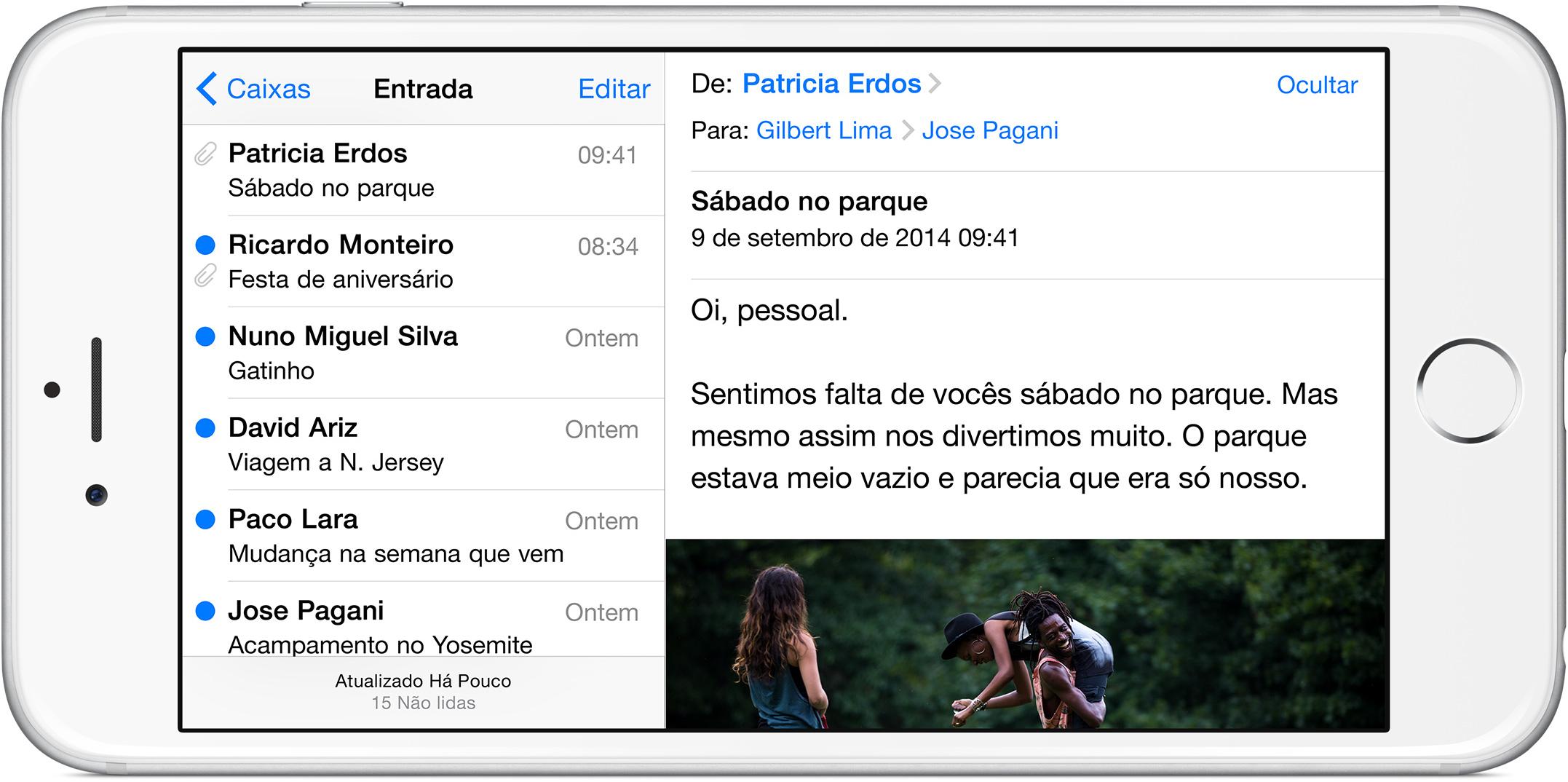 Modo paisagem do iPhone 6 Plus