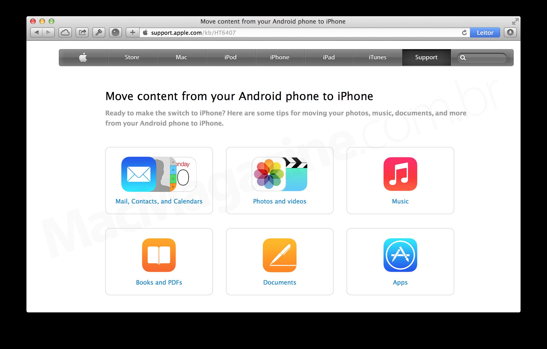 Guia da Apple para usuários de Android