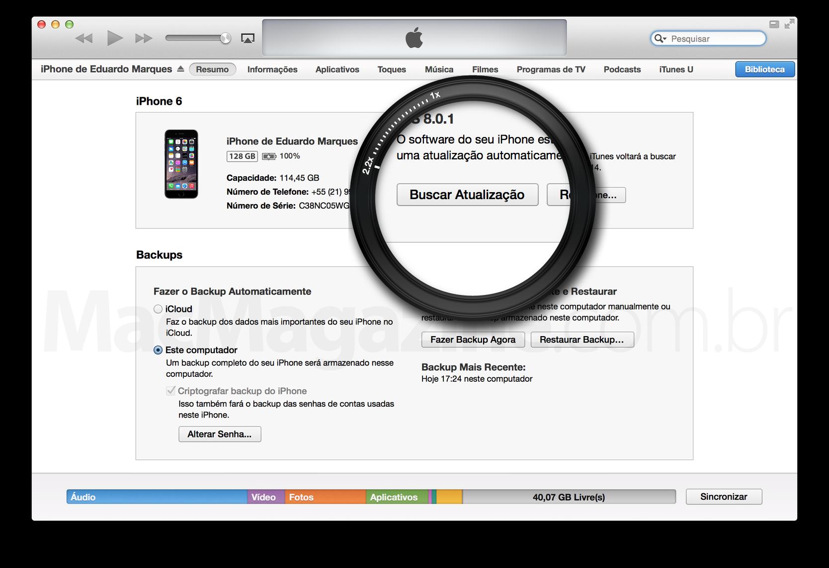 Instalando o iOS 8 manualmente no iTunes