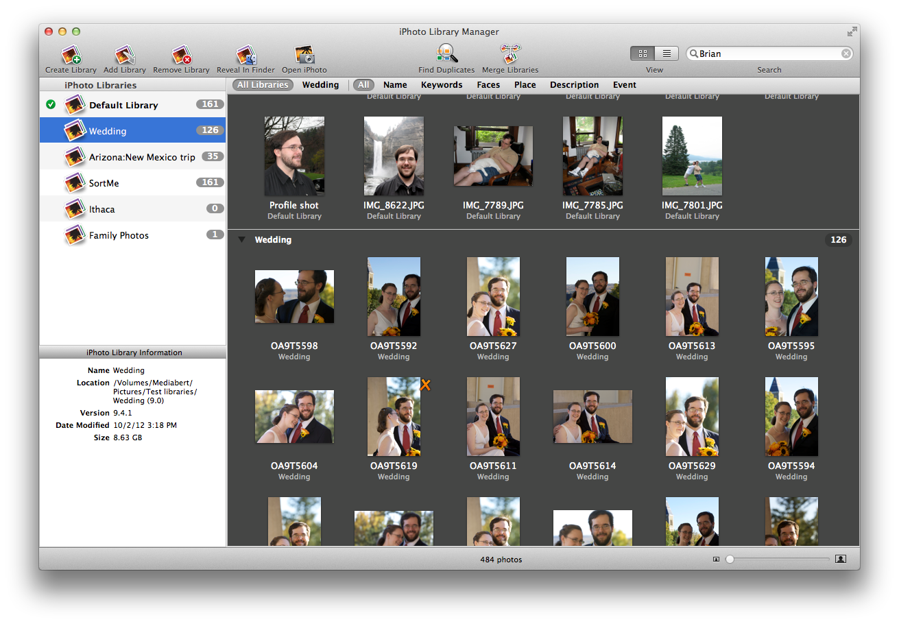 iPhoto Library Manager - Busca