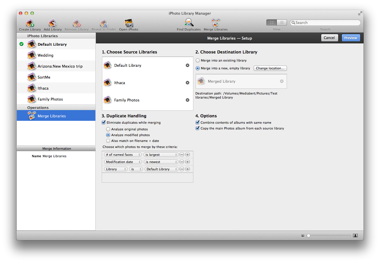 iPhoto Library Manager - Merge